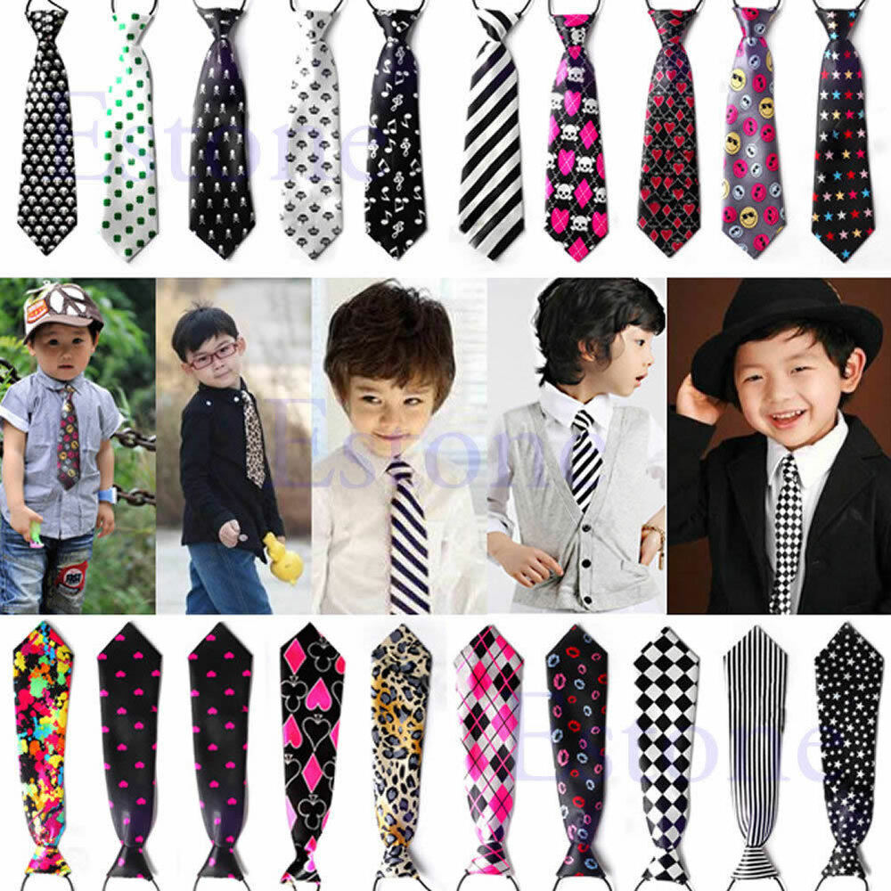 Hot School Boys Girls Childrens Kids Clip On Elastic Neck ...