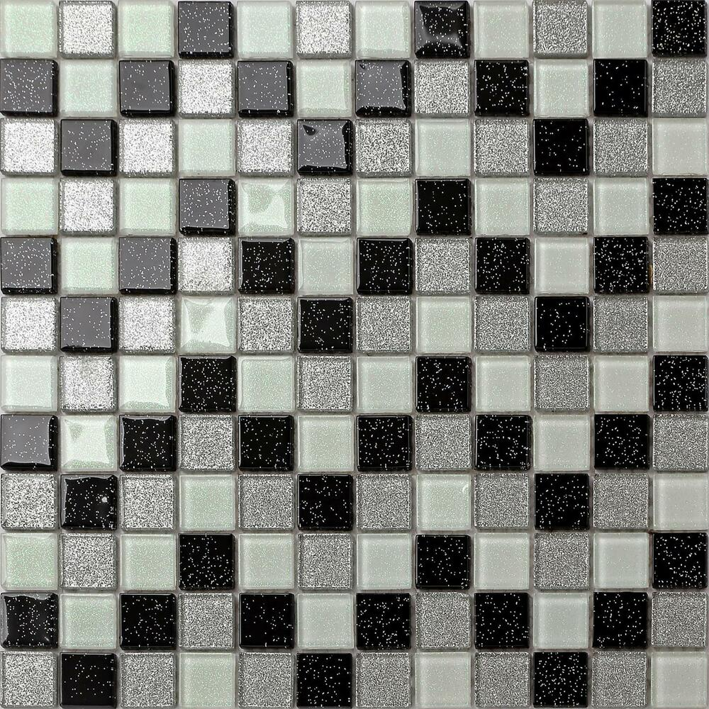 White Sparkle Kitchen Floor Tiles: Glitter Mosaic Glass Wall Tiles Silver Black White Basin