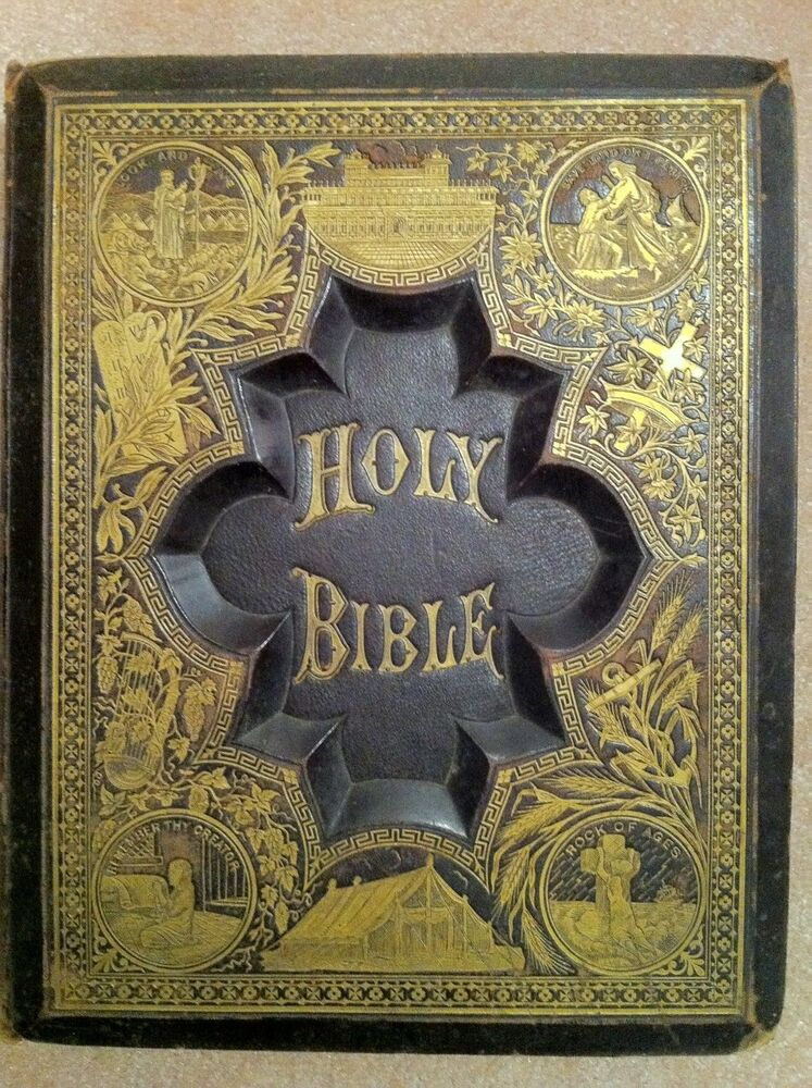 antique family holy bible salesman sample circa late 1800s