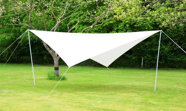 Portable Ivory Sun Shade Sail Kit With Poles Amp Ropes 3 6m