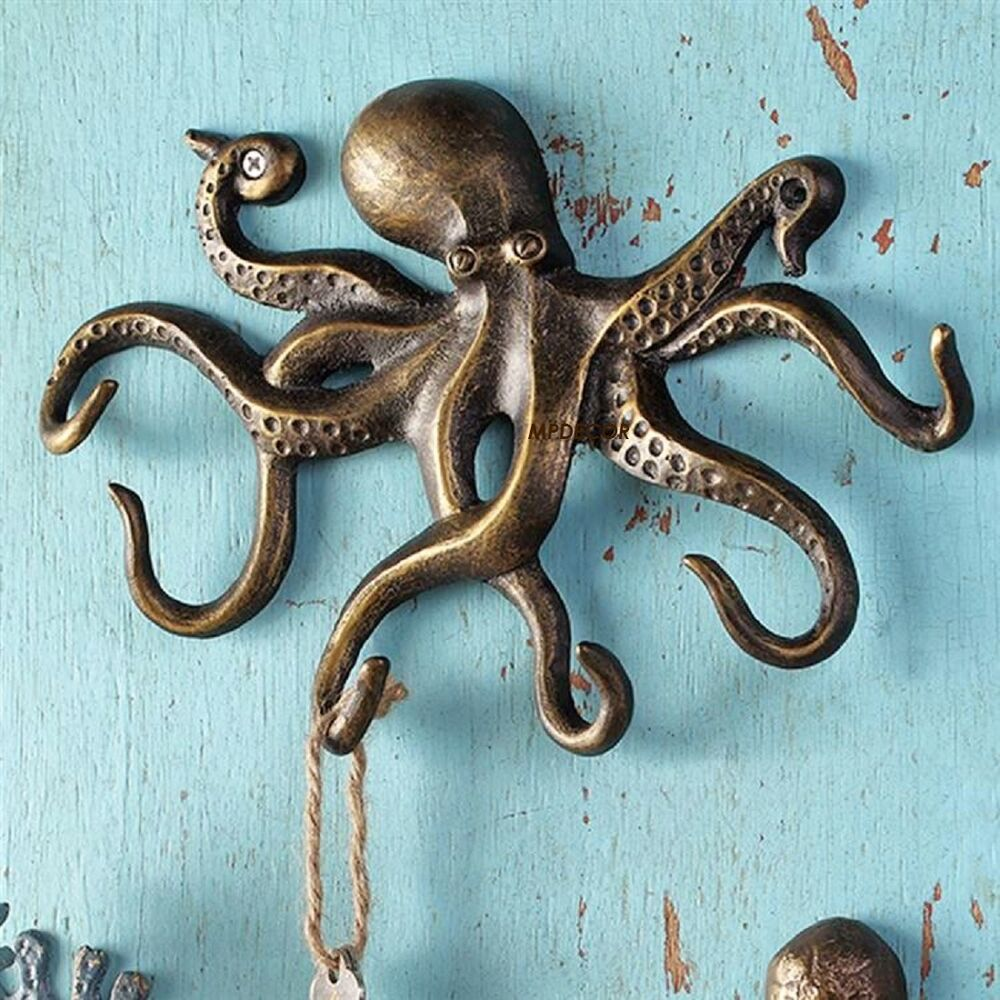 Swimming octopus key hook wall hanger coastal nautical sea Hooks for the wall