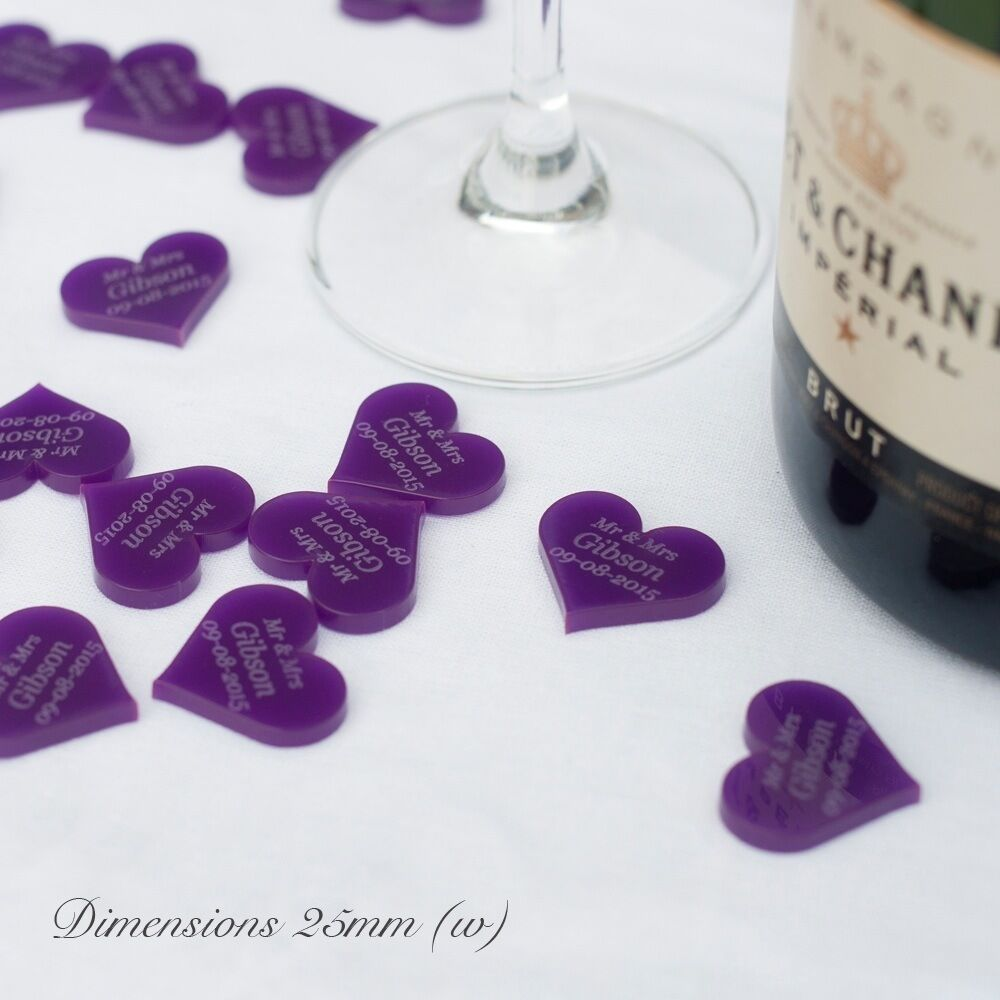 Purple wedding centerpieces and table decor ebay personalised 25mm purple acrylic heart wedding table decorations vintage favours junglespirit Images