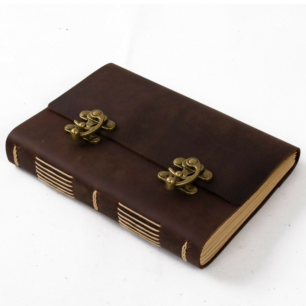 A5 Brown Embossed Leather Journal Written Password Code Lock Diary Book Pen Gift