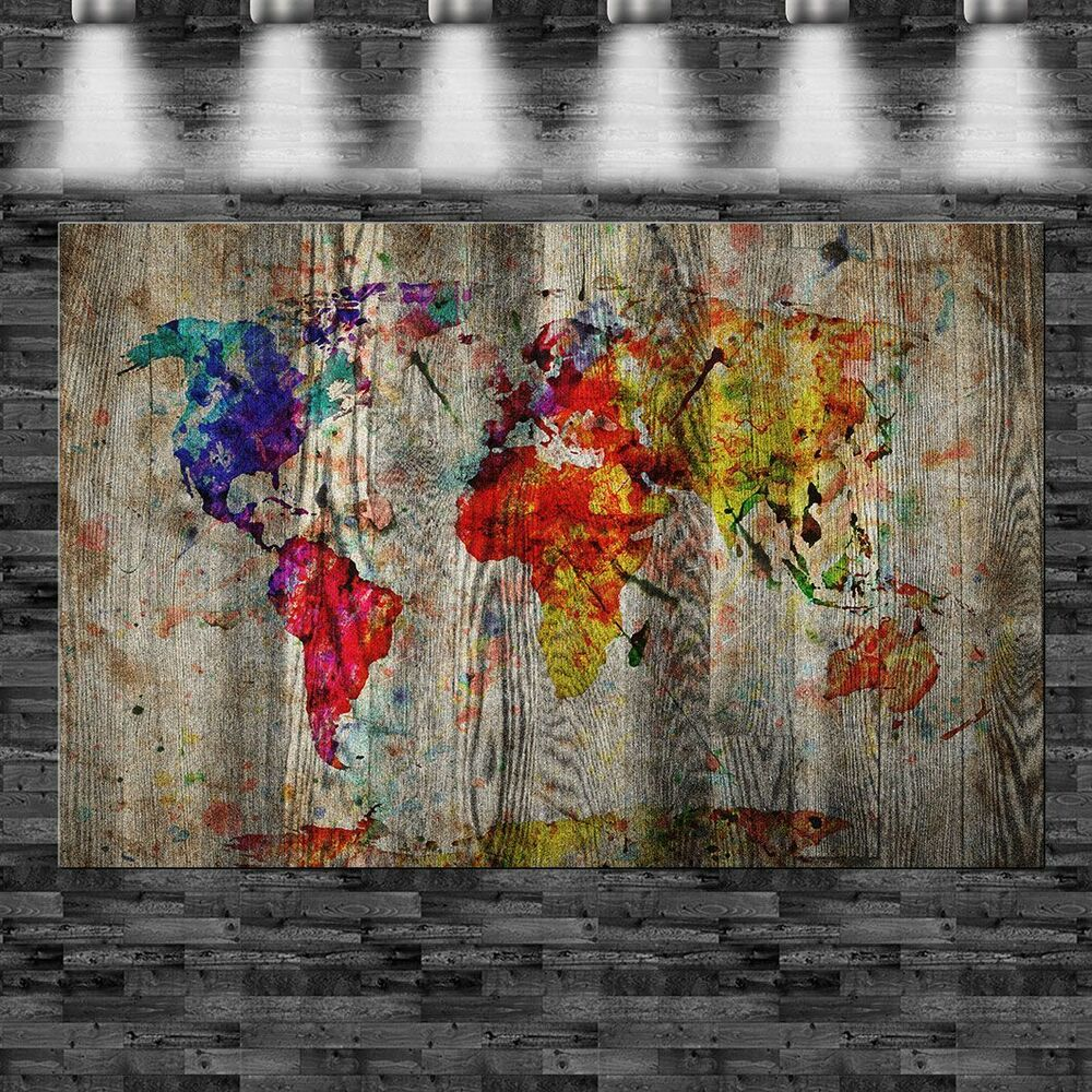 xxl weltkarte auf holz gemalt 160x105cm auf leinwand keilrahmen loft welt karte ebay. Black Bedroom Furniture Sets. Home Design Ideas
