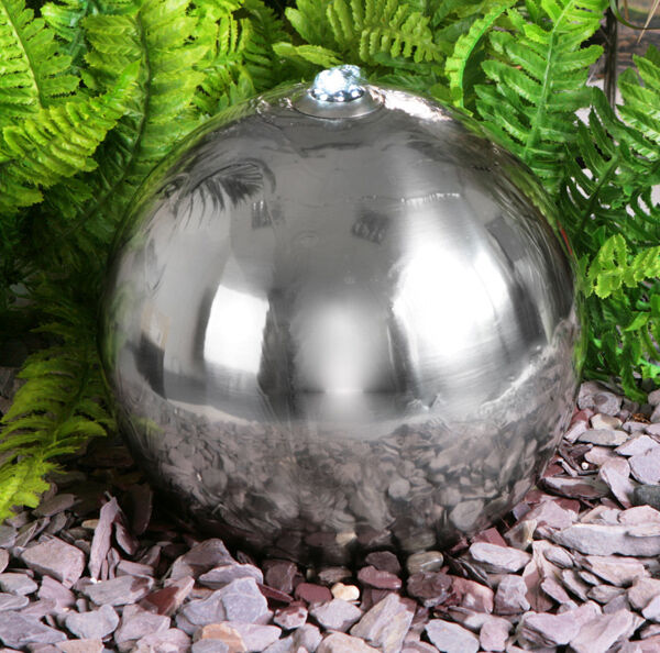 Silver sphere water feature fountain solar power cascade for Sphere led exterieur