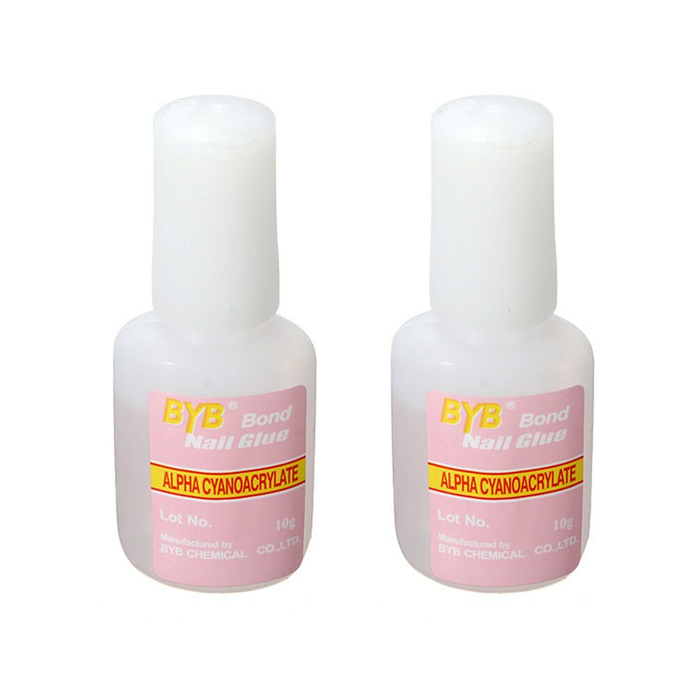 2x 10g nail art glue with brush on strong adhesive fake - Imitation faience adhesive ...