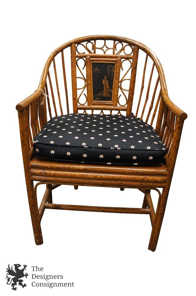 Antique Bamboo Rattan Horseshoe Back Asian Accent Chair