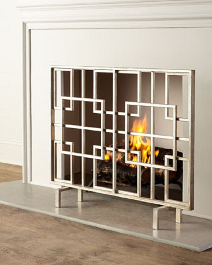 geometric modern squares contemporary fire screen
