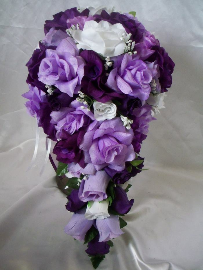 Wedding Bridal Bouquet Cascading Lavender Purple White Silk Flowers