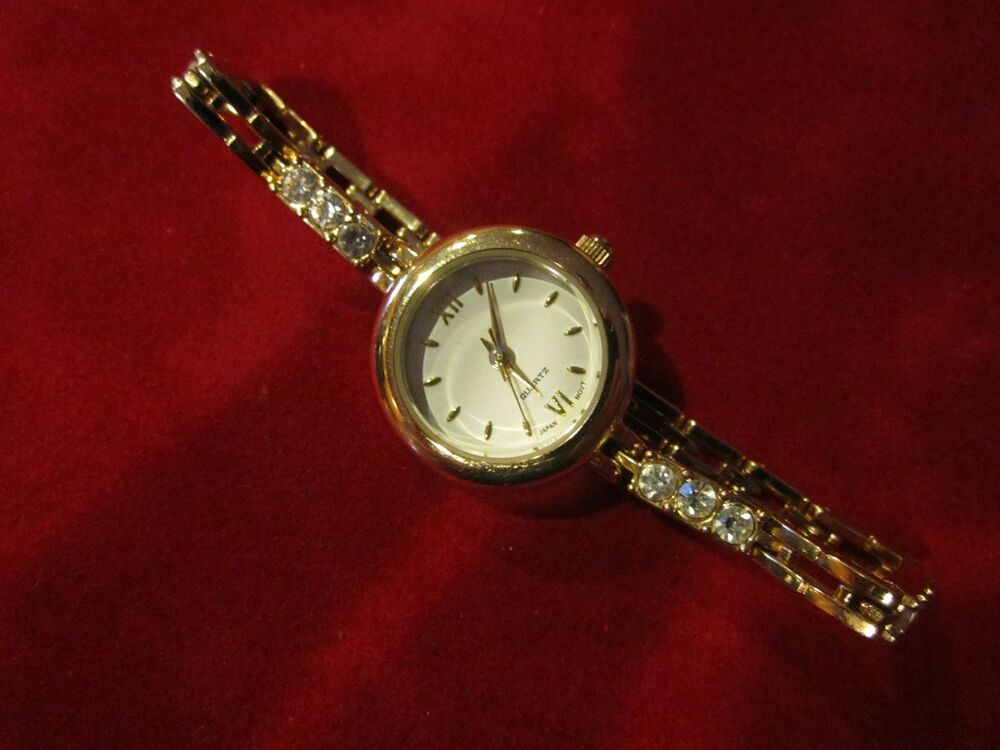 Ladies gold tone and diamond accent wrist watch quartz japan movt steel back ebay for Celebrity quartz watch japan movt
