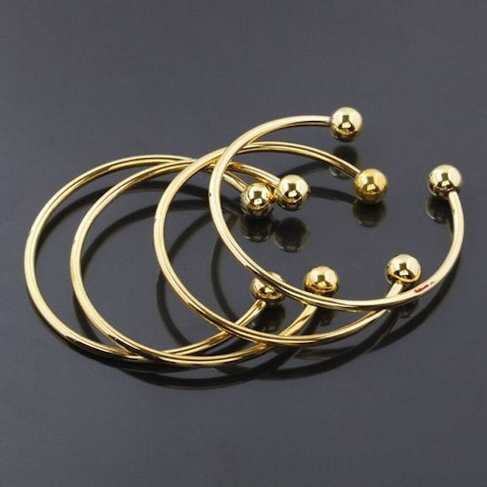 Gold Jewelry Bracelets: Charms Brass Gold Bracelet Bangle Adjustable Size Screw