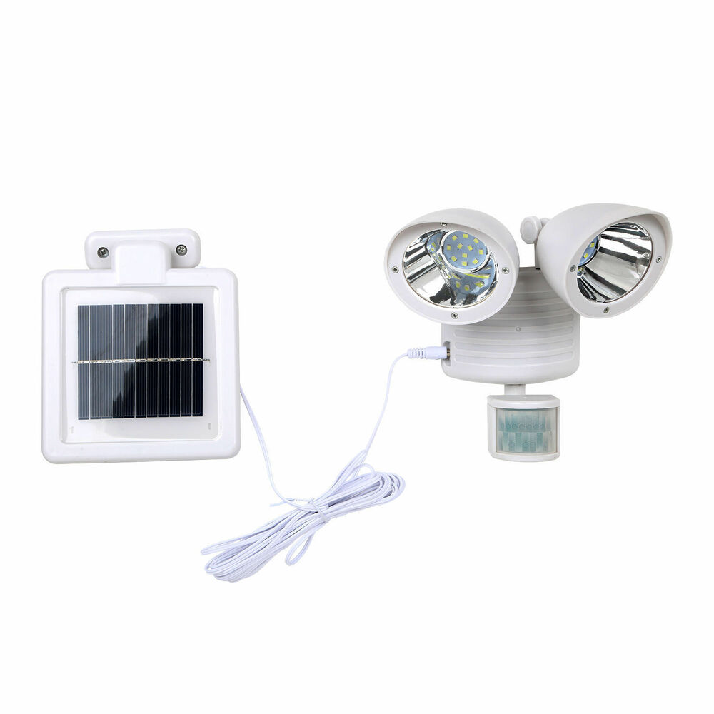 White Solar Powered Motion Sensor Light 22 LED Garage