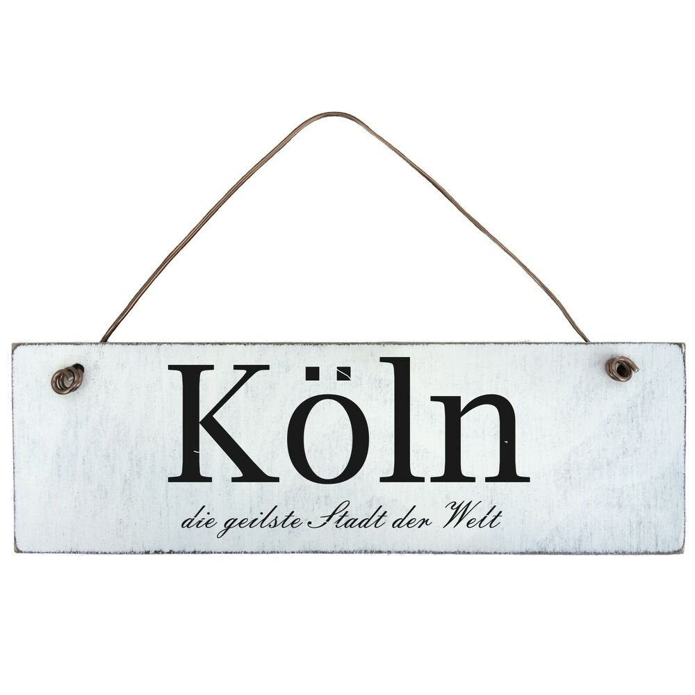 shabby chic k ln schild t rschild dekoschild holz landhaus vintage ebay. Black Bedroom Furniture Sets. Home Design Ideas