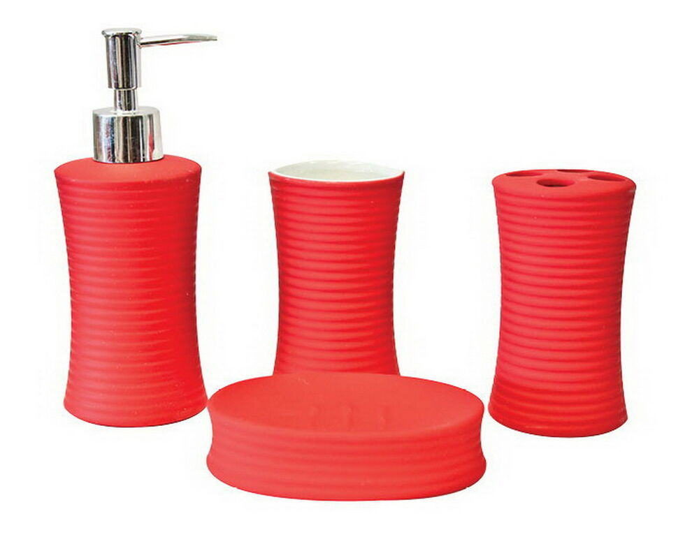 Ribbed 4pc ceramic porcelain bath bathroom accessory set for Red bathroom accessories