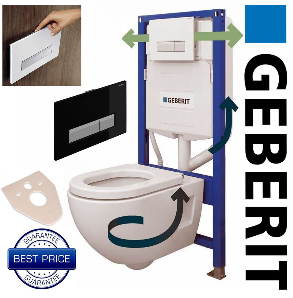 geberit duofresh wc toilet frame with cistern flush plate wall brackets ebay. Black Bedroom Furniture Sets. Home Design Ideas