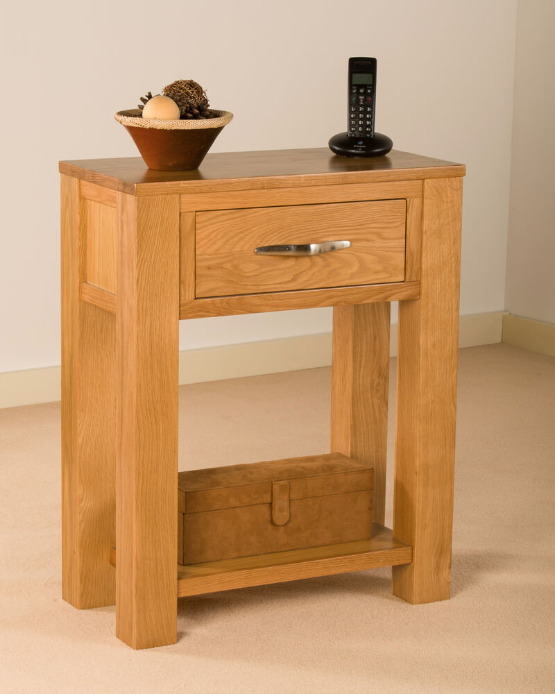 solid oak small telephone lamp hall console table unit ebay. Black Bedroom Furniture Sets. Home Design Ideas