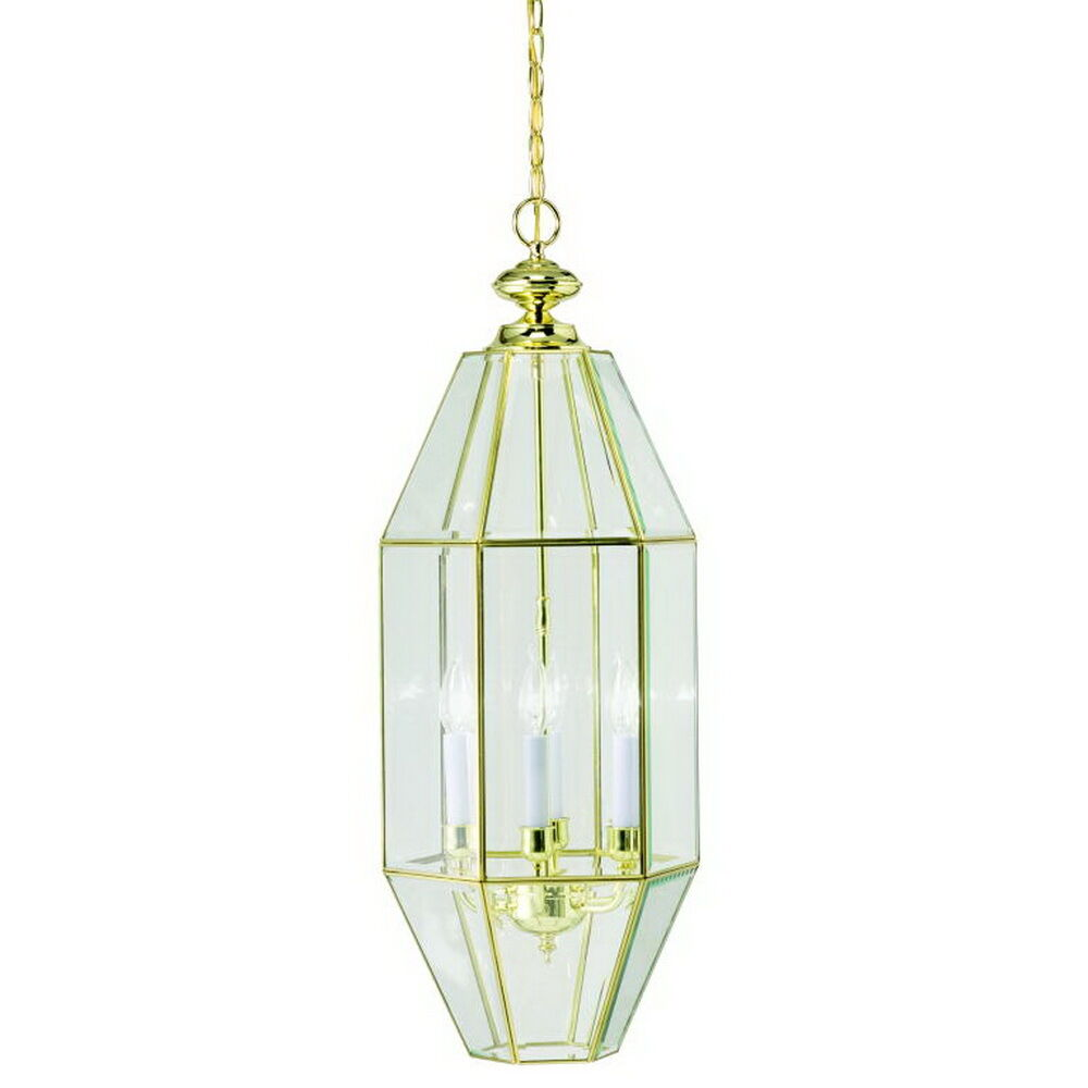 Polished Brass Bound Clear Beveled Glass 6 Light Pendant
