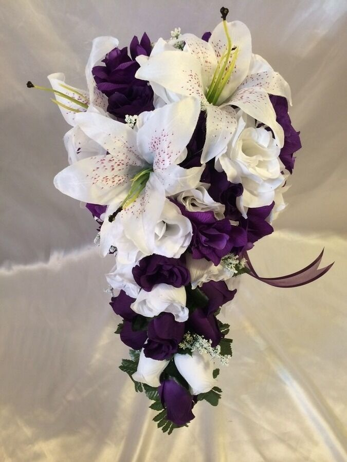 flowers bouquets for weddings purple white wedding bridal bouquet cascade silk 4252