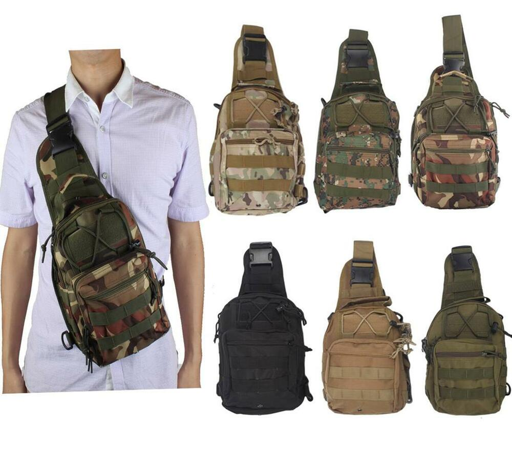 Molle Tactical Sling Chest Bag Assault Pack Messenger Shoulder Bag ...