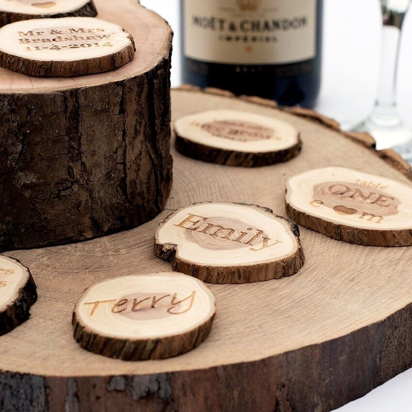 Small Country Wedding Ideas: Personalised Wedding Favours. Small Rustic Log Slices