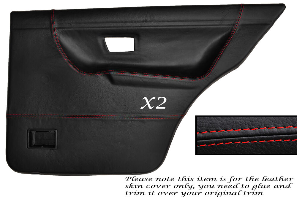 Red stitch 2x rear door card skin covers fits vw golf mk2 for 106 door cards