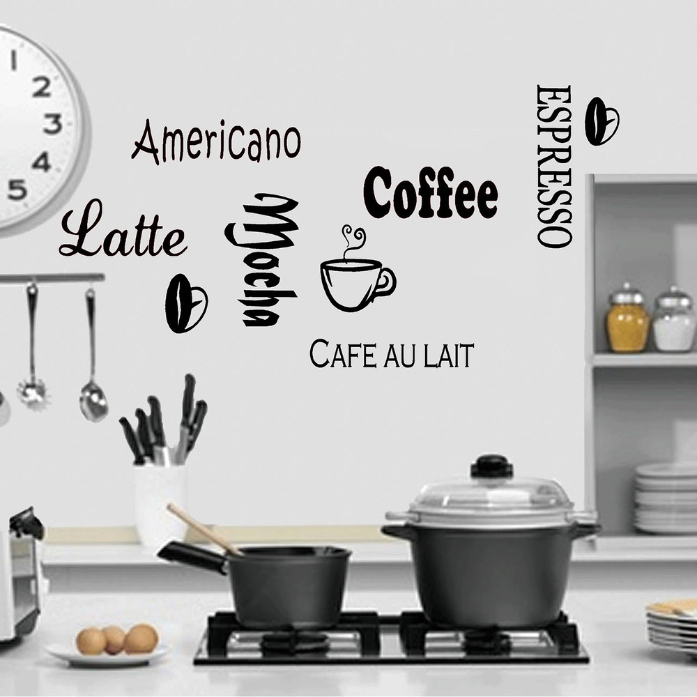 Large coffee kitchen wall quote stickers cafe vinyl art for Large kitchen wall decor
