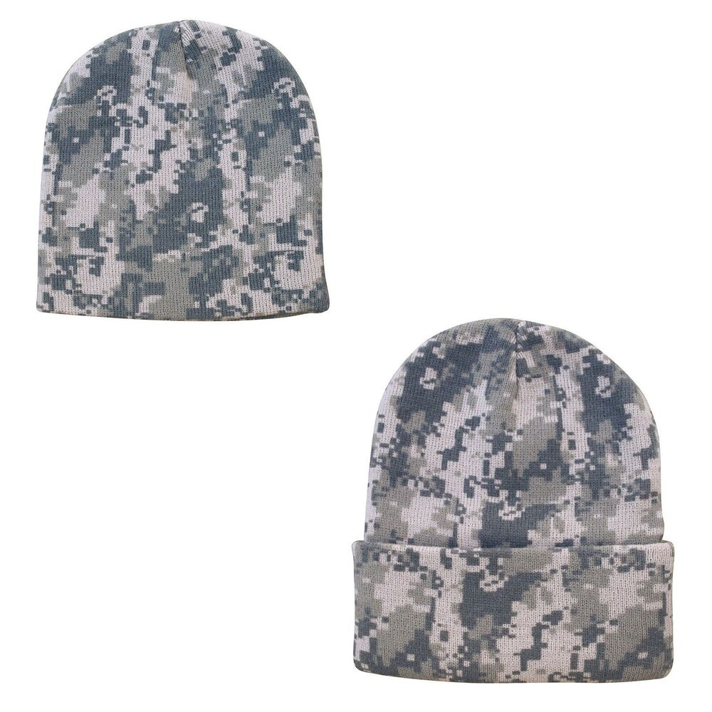 Digital Grey Pixel Camo Camouflage Warm Winter Beanie Beanies Hat Hats Cap Caps Ebay