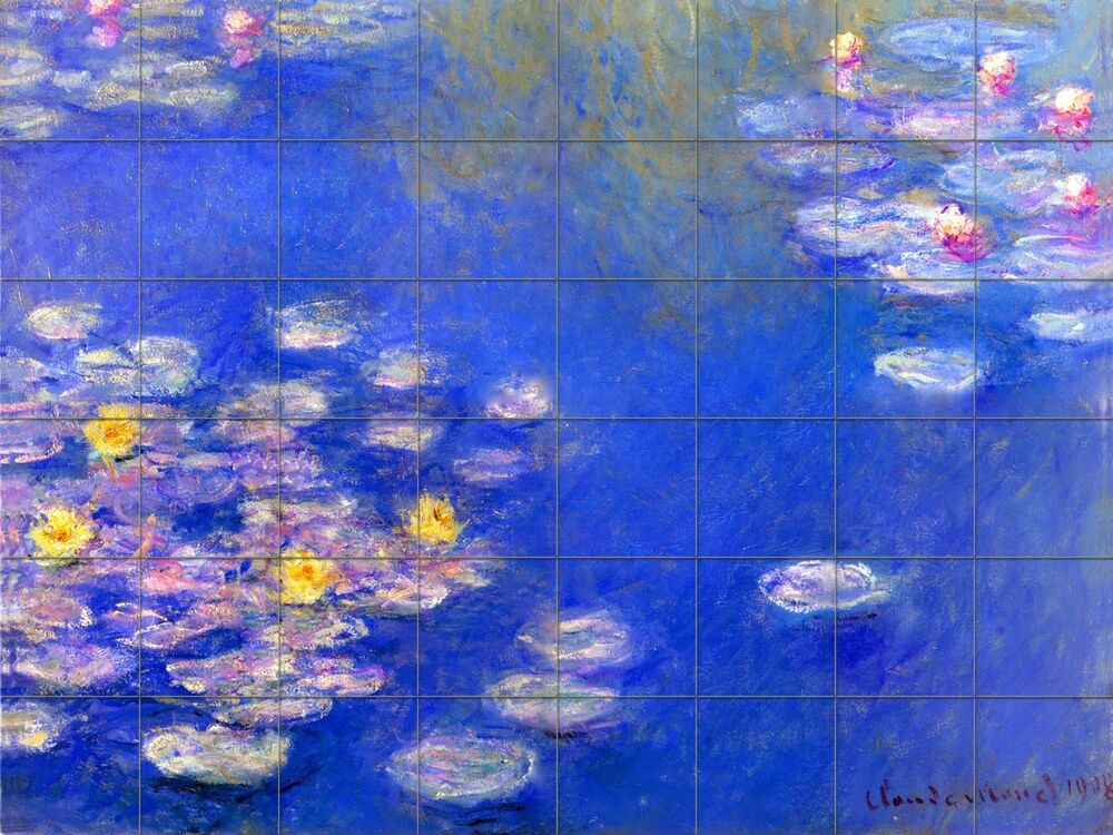 48 tiles art monet pond great bathroom backsplash tile for Art nouveau tile mural
