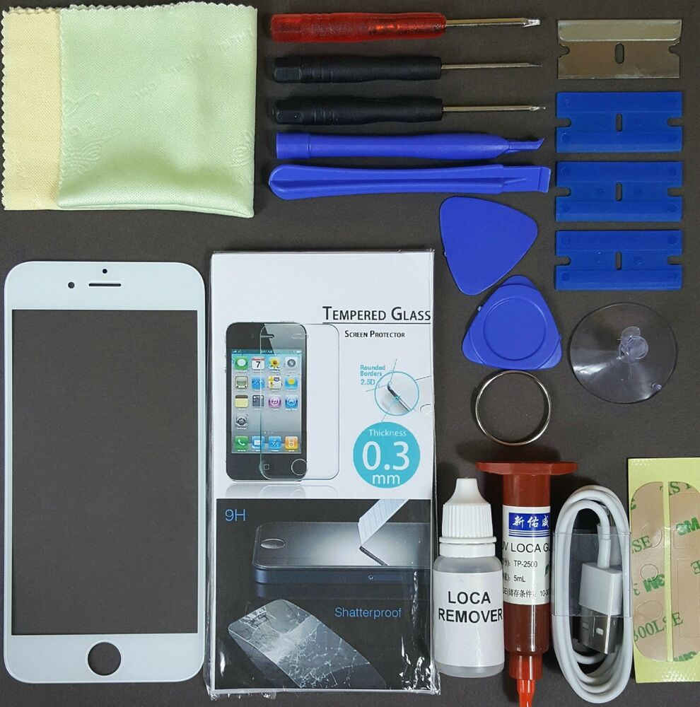 Apple iphone 6 replacement screen front glass replacement repair kit white ebay - Kit reparation iphone 6 ...