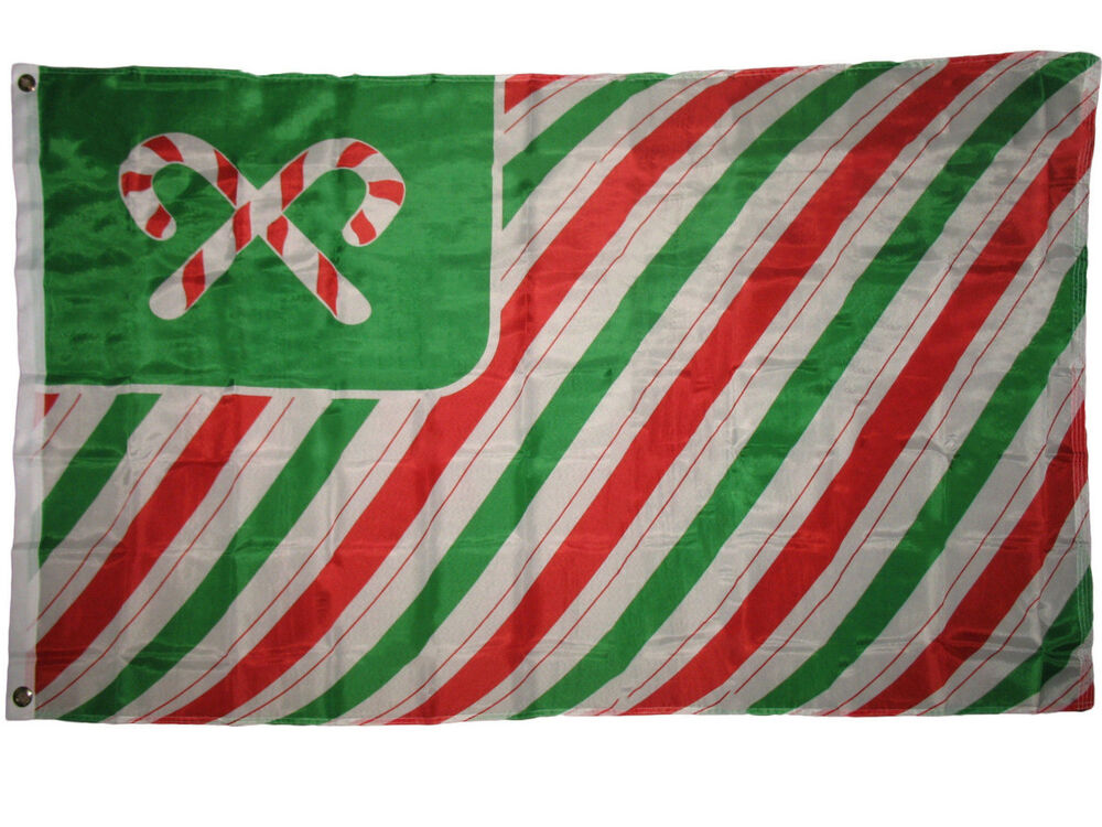 3x5 Merry Christmas Seasons Greetings Candy Cane Poly Flag
