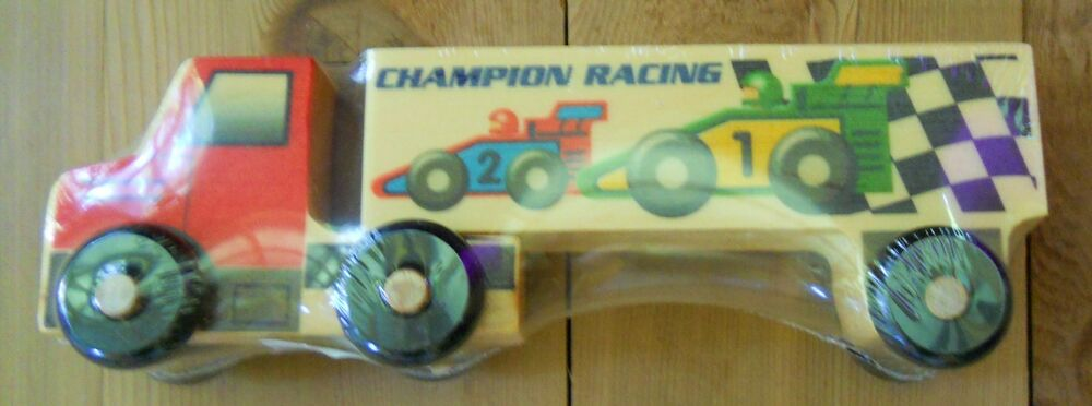 Semi Truck That S Also A Toy Car Holder : Wooden wood semi truck old fashioned toys champion racing