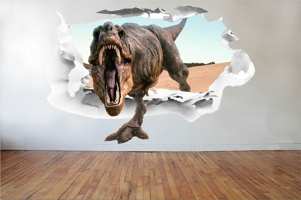 3d dinosaur full colour t rex wall art sticker boys decal for Sticker mural 3d