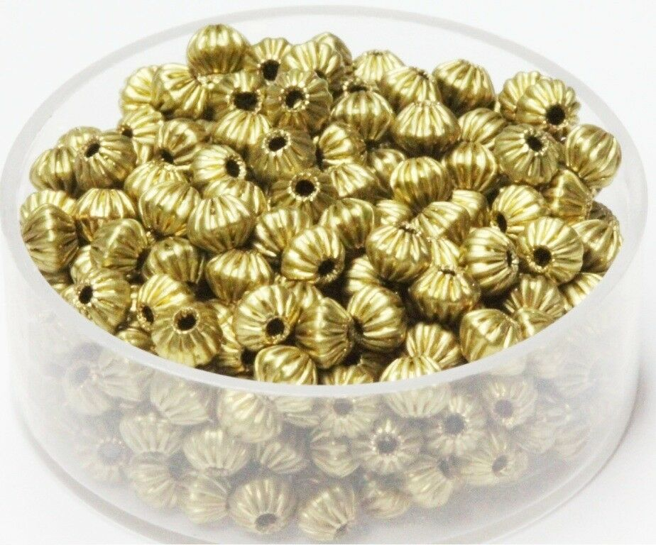 50 p 7 MM Solid Brass Round Corrugated Hollow Beads  Pkg USA