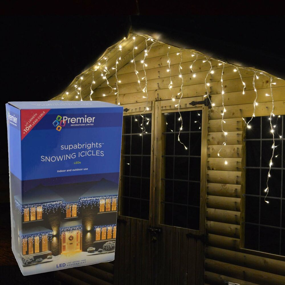 Outdoor led icicle christmas lights blue white or multi coloured