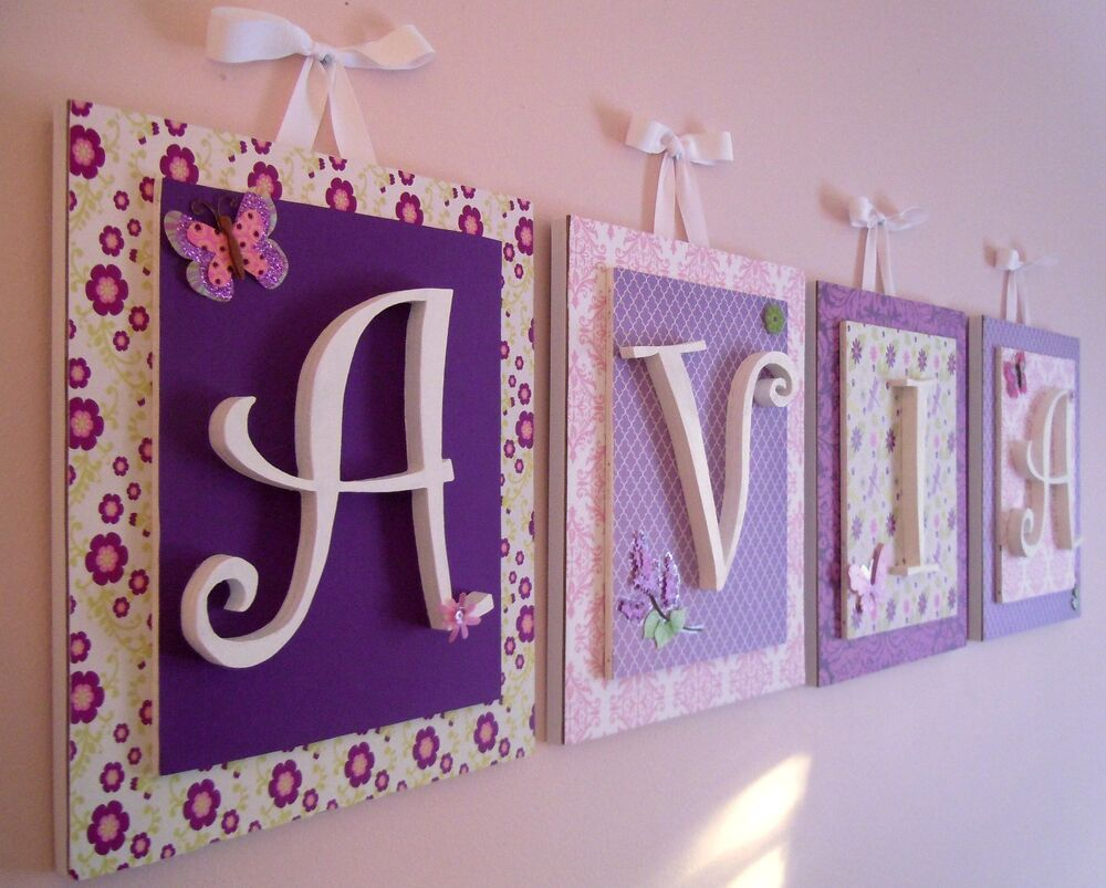 Purple Nursery Letters, Purple Nursery Wall Art, Butterfly
