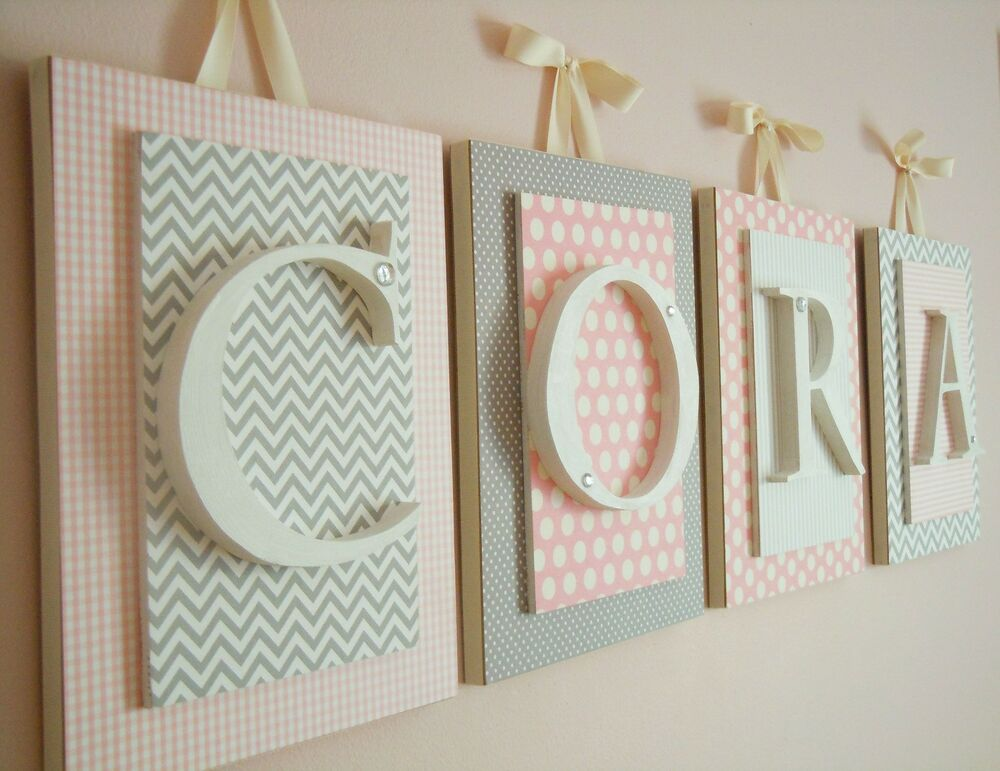 Pink And Gray Nursery,Nursery Letters,Girls Nursery Wall