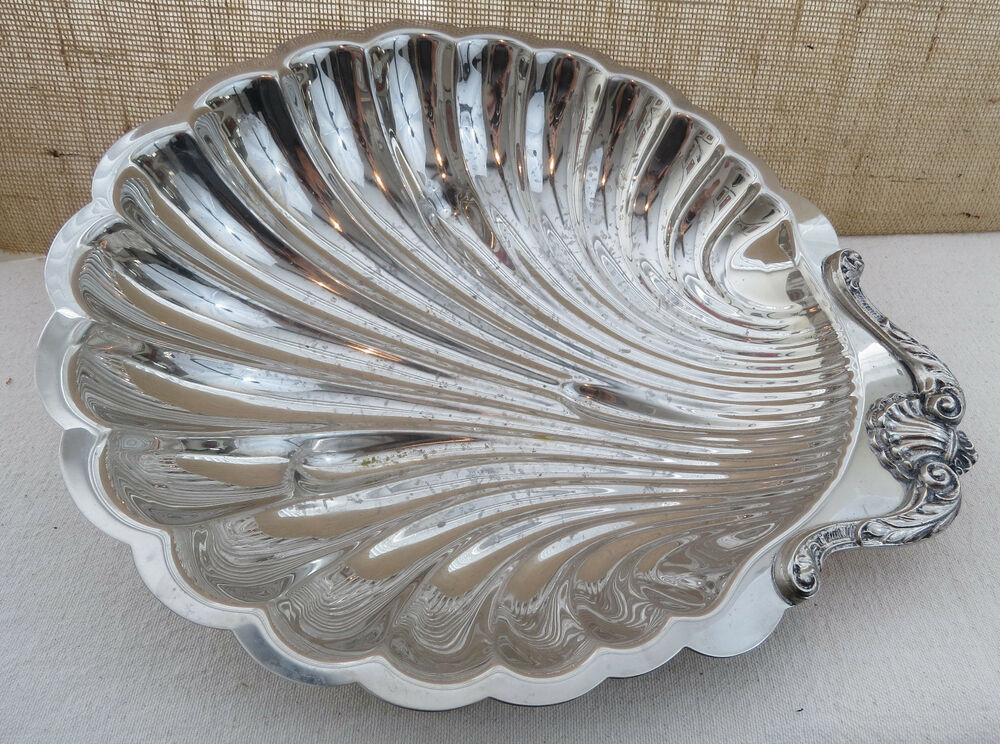 english silver manufacturing corp large silverplate seashell shaped platter tray ebay. Black Bedroom Furniture Sets. Home Design Ideas
