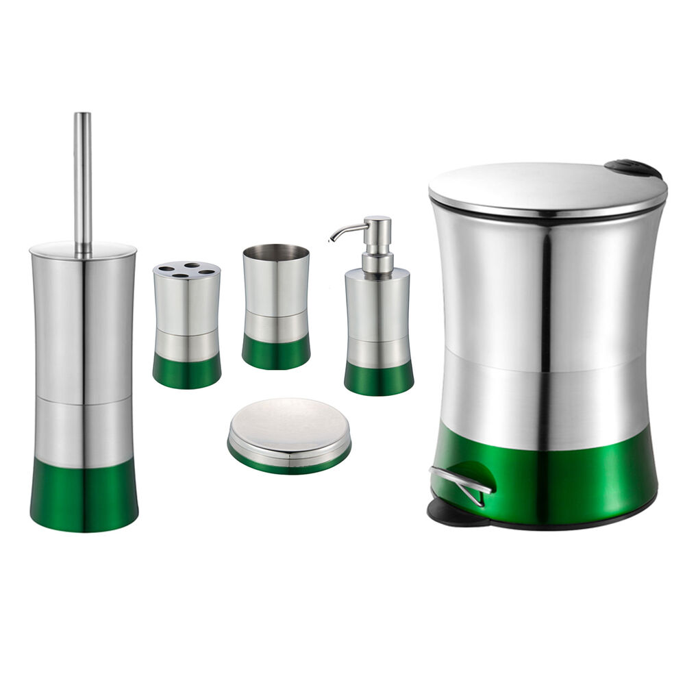 Emerald green 6 piece bathroom accessory set stainless for Bath accessory sets