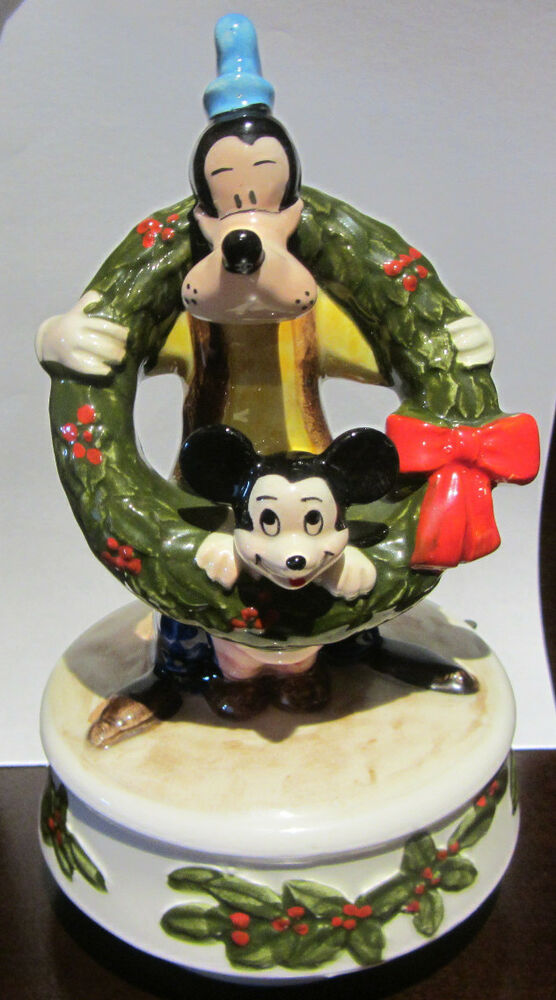 Rare Disney Schmid Christmas Mickey Goofy Music Box