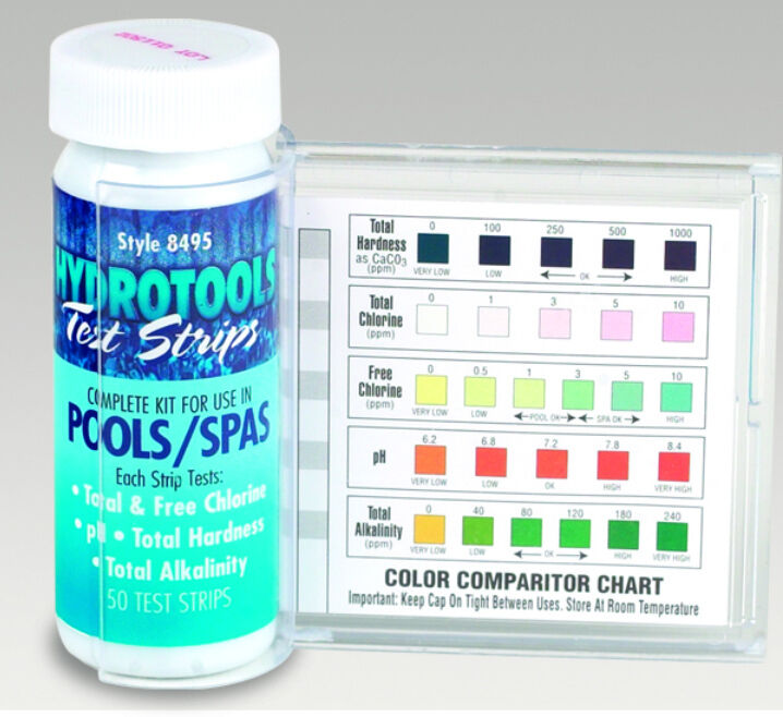 hydrotools 8495 5 way swimming pool water chlorine test strips kit 50 tests ebay. Black Bedroom Furniture Sets. Home Design Ideas