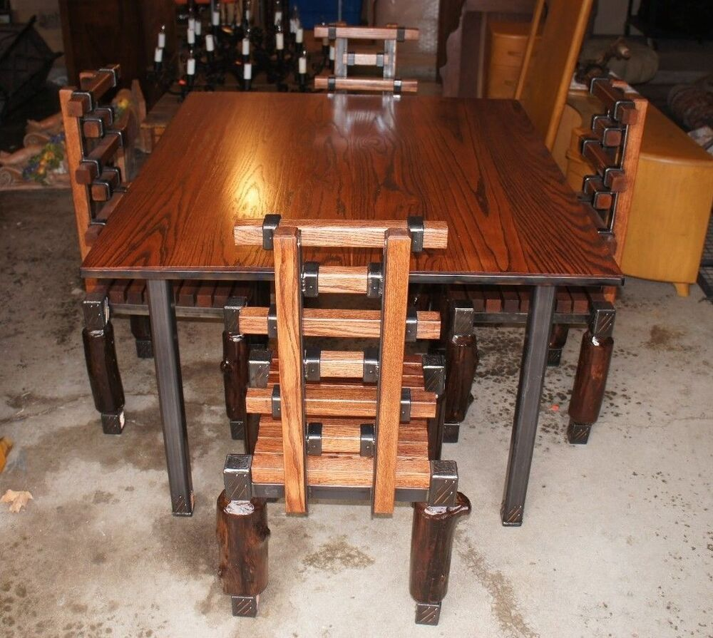 Unique Handmade Industrial Urban Oak Table & 4 Chairs