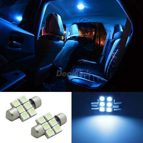 2x ice blue 6smd led festoon map dome interior lights bulbs 31mm 3021 3022 3175 ebay for Led car interior lights ebay