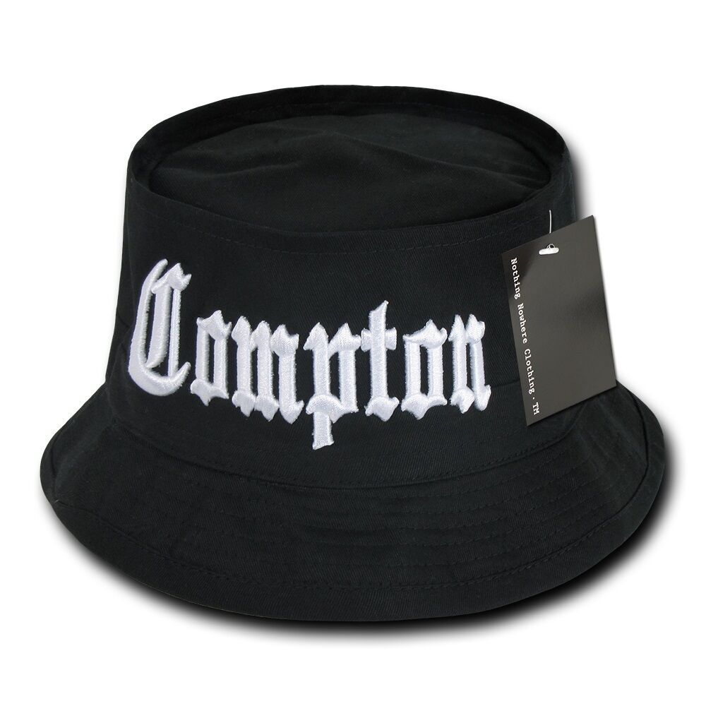 Black compton vintage embroidered hip hop fisherman 39 s for Fishing bucket hats
