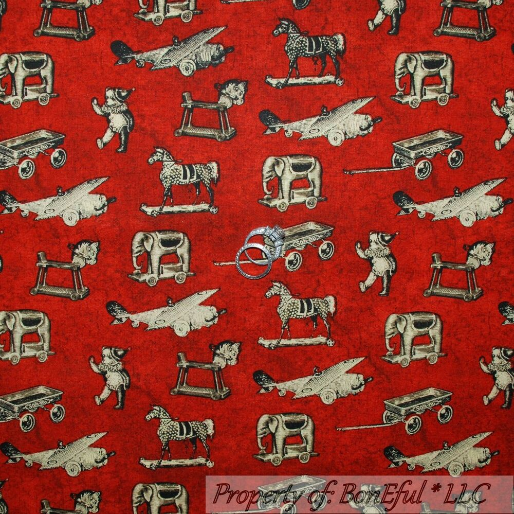 Boneful fabric fq cotton quilt red airplane vtg baby boy for Boys cotton fabric