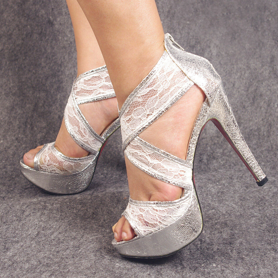 Silver Lace Wedding Shoes