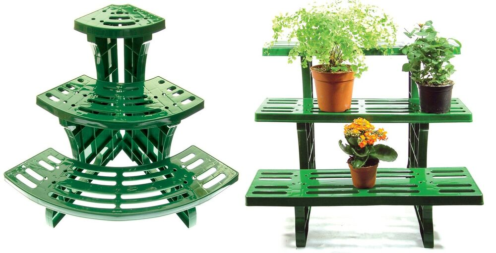3 tier etagere plant stand pot garden display straight or - Tier plant stand outdoor ...