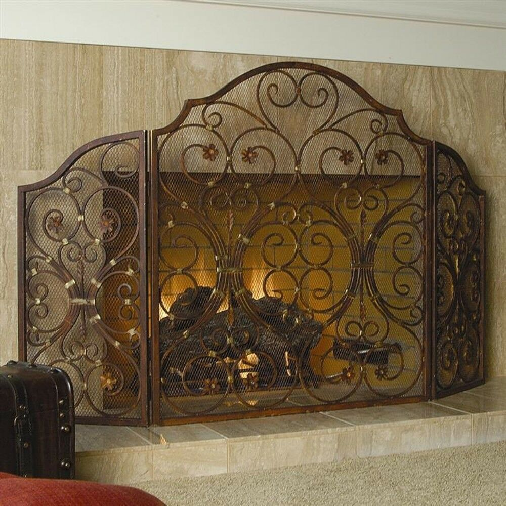 old world french tuscan provincial scroll classic fireplace fire screen 53 5 w ebay. Black Bedroom Furniture Sets. Home Design Ideas