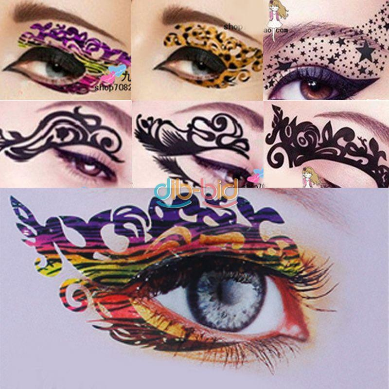 Temporary rock eye tattoo eyeshadow stickers eyeliner for Crystal eye tattoos