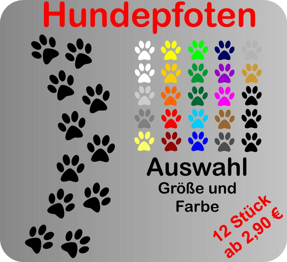 12 hundepfoten pfoten hund aufkleber auto wandtattoo fliesen fensterbild ebay. Black Bedroom Furniture Sets. Home Design Ideas
