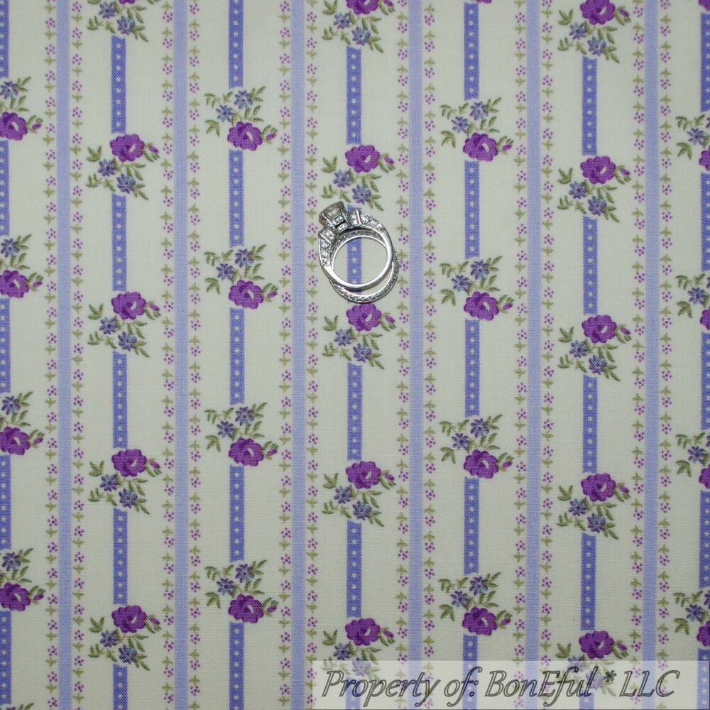 Boneful fabric fq cotton quilt cream purple rosebud flower for Purple baby fabric
